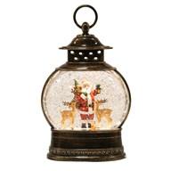 Santa Globe Spinner Brushed Gold 18x29cm