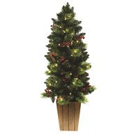 Pre-Lit Tree Pine Cone Berries 4ft