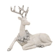 Laying Stag Silver White 23cm