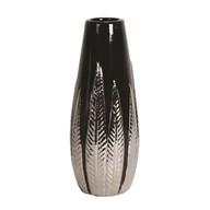 Black and Silver Ceramic Leaf Vase 27.5cm