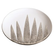 White and Silver Ceramic Leaf Plate 30cm