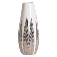 White and Silver Ceramic Leaf Vase 32.5cm