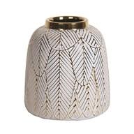 Ceramic Gold Etched Vase 19.5cm