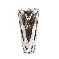 Silver Glass Geometric Vase 30cm
