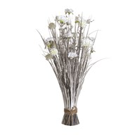 Silver Rose Floral Grass 70cm