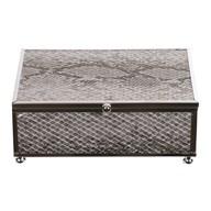 Silver Snake Skin Jewellery Box 15x10cm