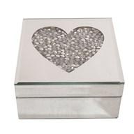 Heart Mirror Jewellery Box 14x14cm