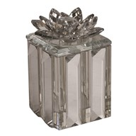 Silver Crystal Lotus Trinket Box 11x14cm