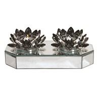 Silver Crystal Lotus 2 Tealight Holder 23cm
