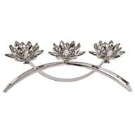 Silver Crystal Lotus Arch 3 Tealight Holder 40cm