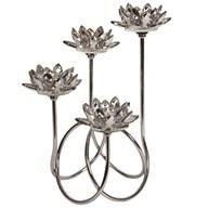 Silver Crystal Lotus Tealight Holder 36cm