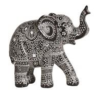 Carved Black & White Elephant 24cm