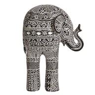 Carved Black & White Elephant 26cm