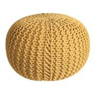 Knitted Pouffe Mustard 50x30cm
