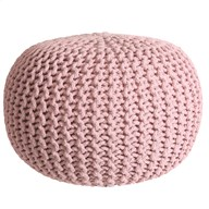 Knitted Pouffe Pink 50x30cm