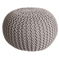 Knitted Pouffe Grey 50x30cm