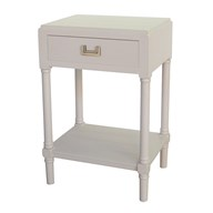 1 Drawer Accent Table in Farmhouse White 45x35x68cm