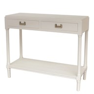 2 Drawer Console Table in Farmhouse White 90x33x75cm