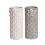Small Lustre Geometric Cylinder Vase 23cm 2 Assorted