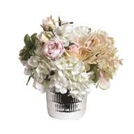 Mixed Flower Arrangement in Silver Pot 30cm