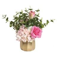 Pink Floral Arrangement in Gold Pot 38cm