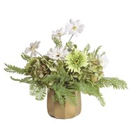 White and Green Floral Arrangement in Gold Pot 36cm