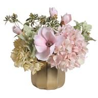 Pink and Cream Hydrangea Floral Arrangement in Gold Pot 31cm