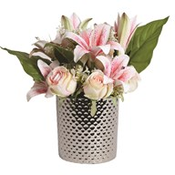 Peach Lily Floral Arrangement in Silver 40cm