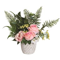 Pink Floral Arrangement in Grey Pot 48cm