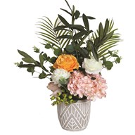 Pink, Yellow and White Floral Arrangement in Grey Pot 47cm