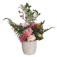 Pink Floral Arrangement in Grey 48cm
