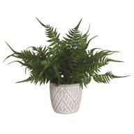 Green Fern Floral Leaf Pot in Grey 40cm