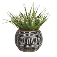 White Floral Plant in Black Pot 28cm
