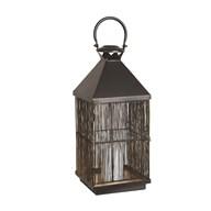 Matte Black Gold Inside Lantern 46cm