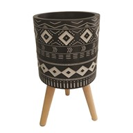 Aztec Design Planter Black 29x31cm