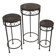 Set of 3 Black Marble Plant Stands 66cm & 57cm & 48cm