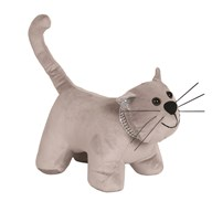 Cat Doorstop Grey 25x27cm
