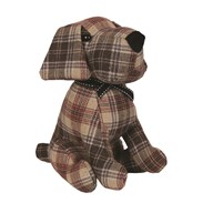Checked Dog Doorstop 28cm