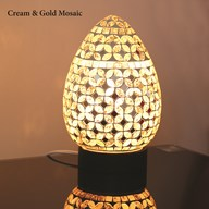 Cream & Gold Mosaic Egg Lamp