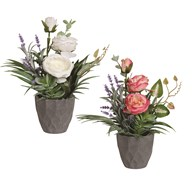 Decorative Peony In Pot 31cm 2 Assorted