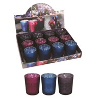 Decor Wax Filled Glass 6.5cm 3 Assorted