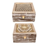 Embroidered Trinket Box 15cm 2 Assorted