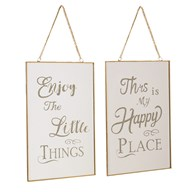 Enjoy/Happy Wall Art 30 cm 2 Assorted