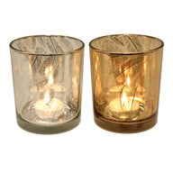 Feather Cut Tealight Holder 10cm 2 Assorted