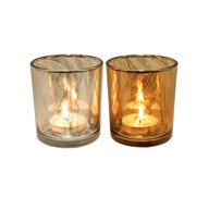 Feather Cut Tealight Holder 8cm 2 Assorted