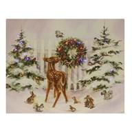 Fibre Optic Canvas Christmas Fawn 40x50cm