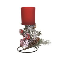 Frost Floral Pillar Holder Red