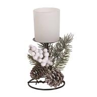 Frost Floral Pillar Holder White