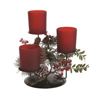Frost Floral Triple Pillar Holder Red