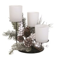Frost Floral Triple Pillar Holder White